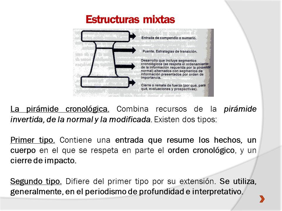Estructuras mixtasLa pirámide cronológica. Combina recursos de la pirámide invertida, de la normal y la modificada. Existen dos tipos: