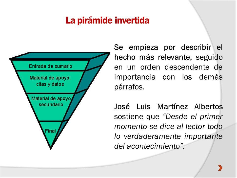 La pirámide invertidaSe empieza por describir el hecho más relevante, seguido en un orden descendente de importancia con los demás párrafos.