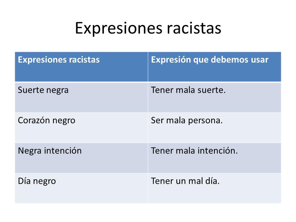Expresiones racistas Expresiones racistas Expresión que debemos usar