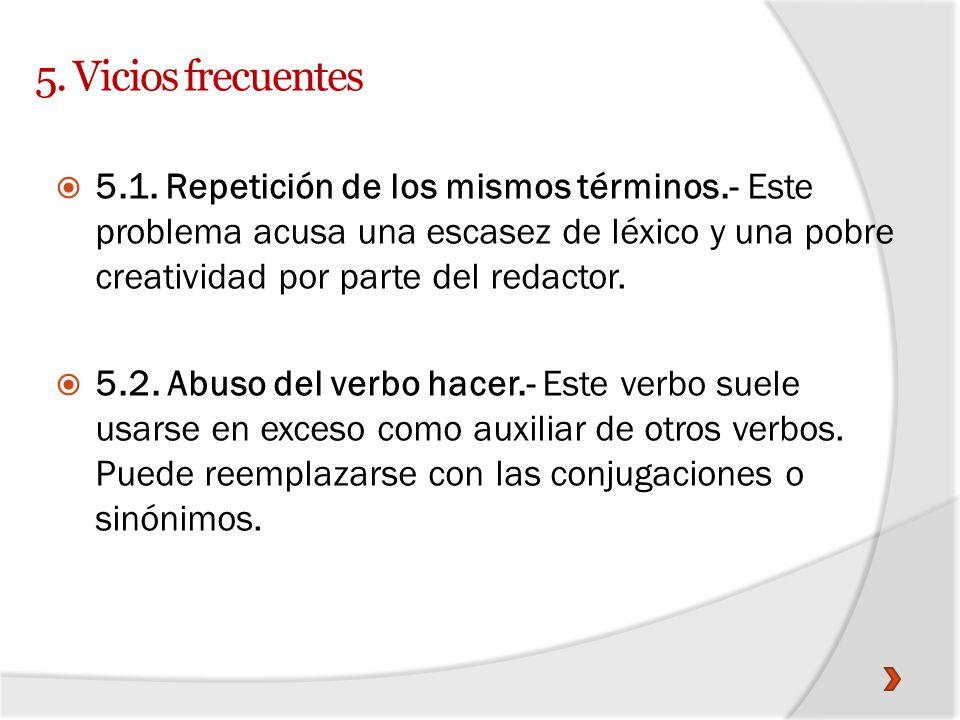 5. Vicios frecuentes
