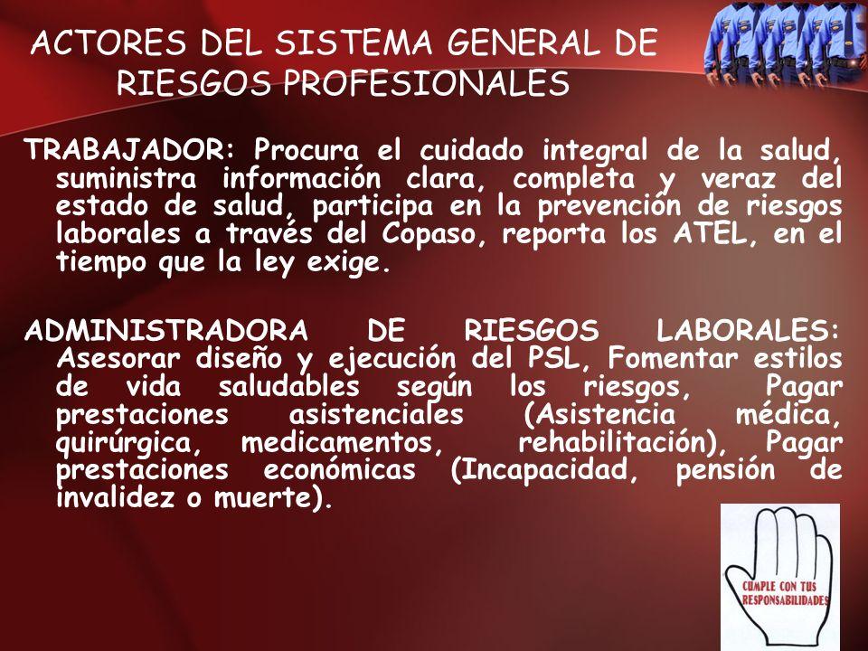 ACTORES DEL SISTEMA GENERAL DE RIESGOS PROFESIONALES