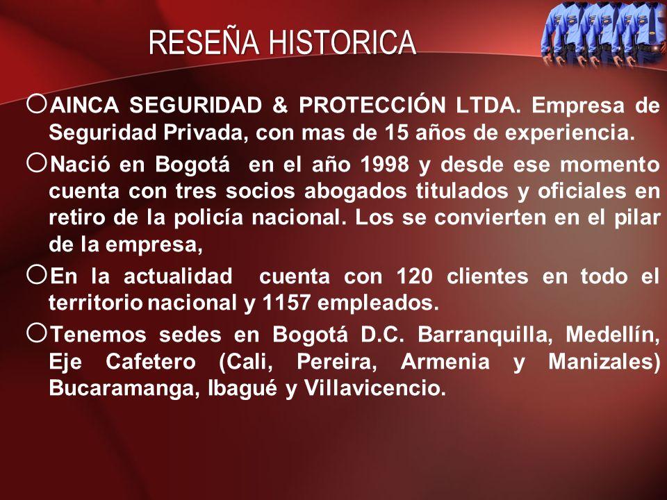 RESEÑA HISTORICA AINCA SEGURIDAD & PROTECCIÓN LTDA. Empresa de Seguridad Privada, con mas de 15 años de experiencia.