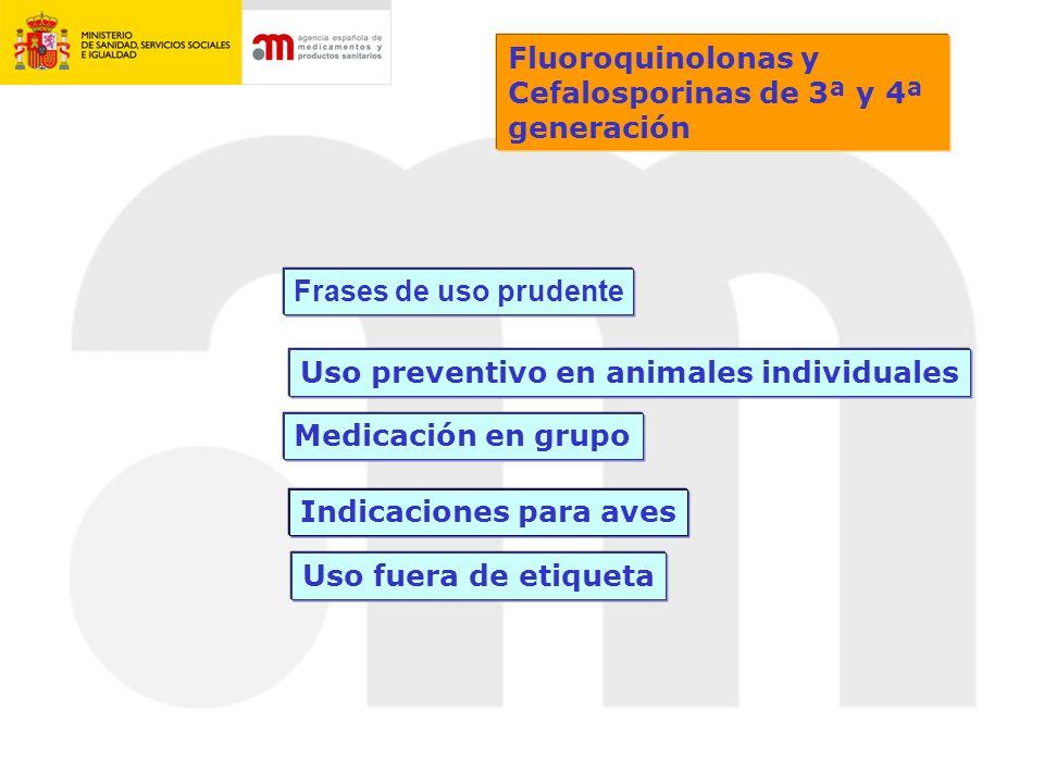 Fluoroquinolonas y Cefalosporinas de 3ª y 4ª generación. Frases de uso prudente. Uso preventivo en animales individuales.