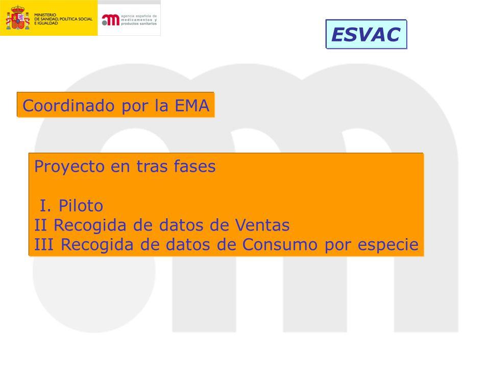 ESVAC Coordinado por la EMA Proyecto en tras fases I. Piloto