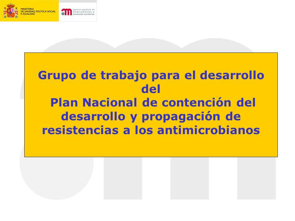 Grupo de trabajo para el desarrollo del Plan Nacional de contención del desarrollo y propagación de resistencias a los antimicrobianos