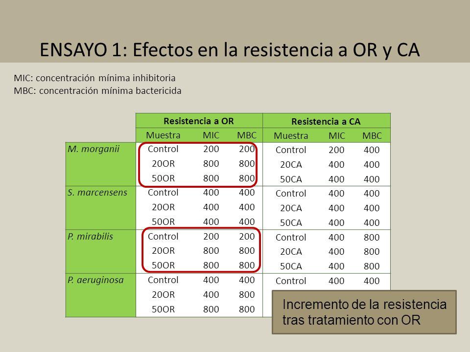 ENSAYO 1: Efectos en la resistencia a OR y CA