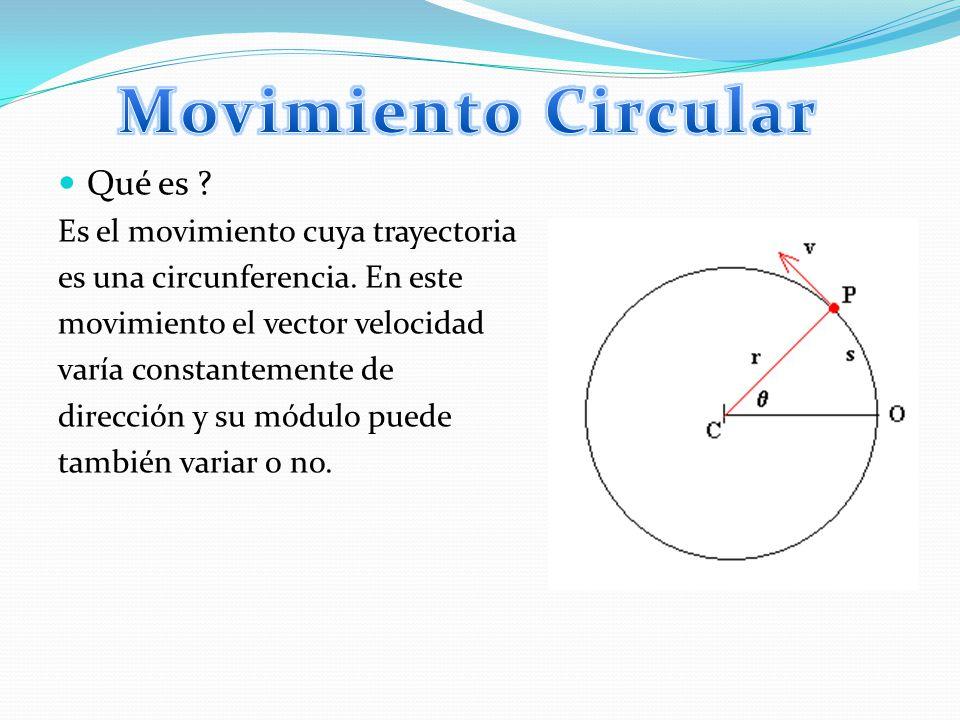 Movimiento Circular Qué es Es el movimiento cuya trayectoria