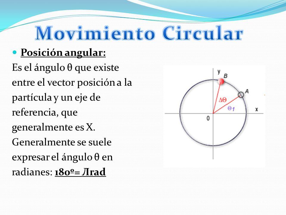 Movimiento Circular Posición angular: Es el ángulo θ que existe