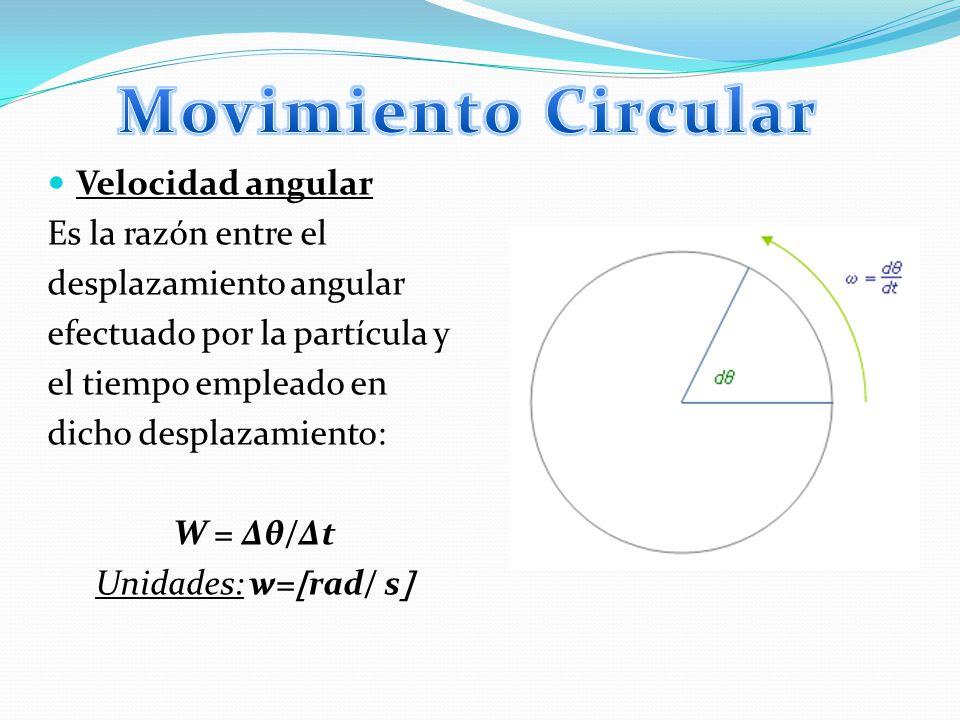 Movimiento Circular Velocidad angular Es la razón entre el