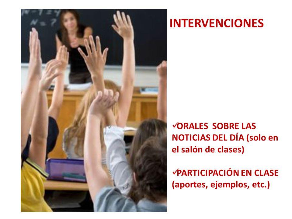 INTERVENCIONES ORALES SOBRE LAS NOTICIAS DEL DÍA (solo en el salón de clases) PARTICIPACIÓN EN CLASE (aportes, ejemplos, etc.)