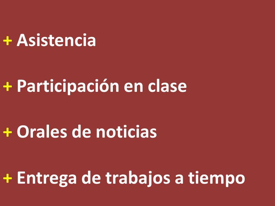 + Asistencia + Participación en clase + Orales de noticias + Entrega de trabajos a tiempo