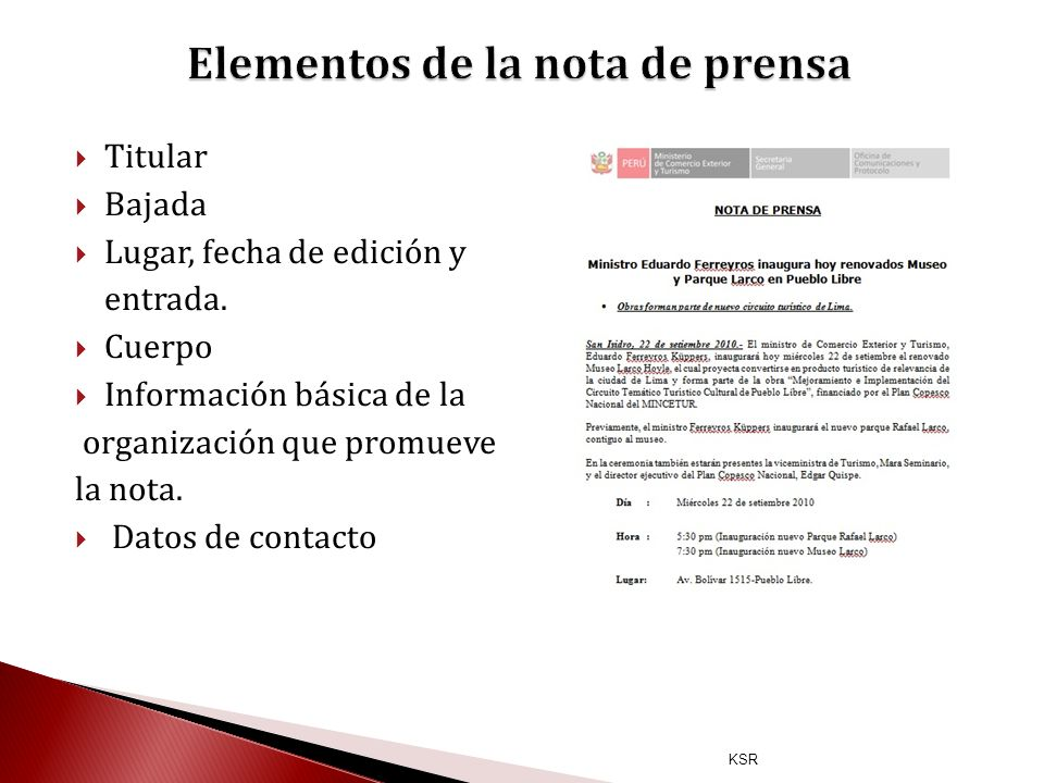 Elementos de la nota de prensa