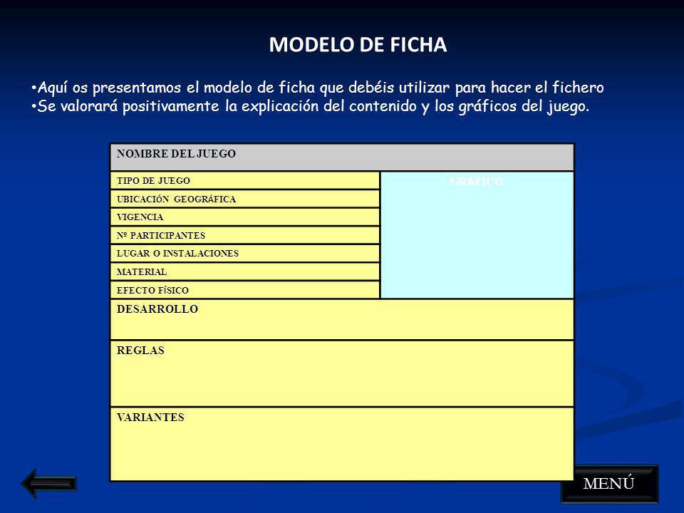 MODELO DE FICHA Aquí os presentamos el modelo de ficha que debéis utilizar para hacer el fichero.