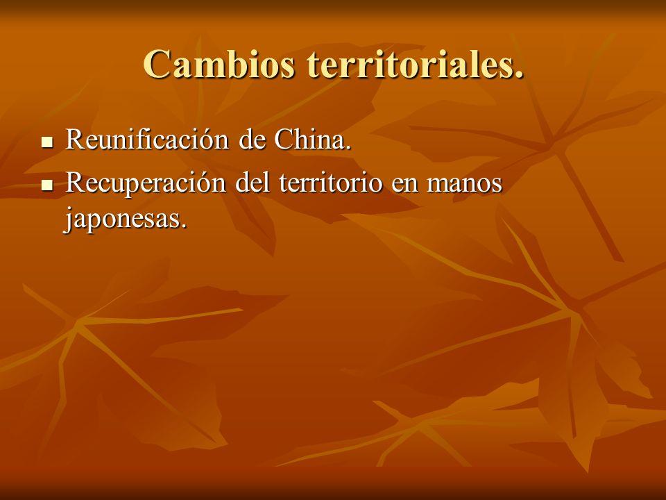 Cambios territoriales.