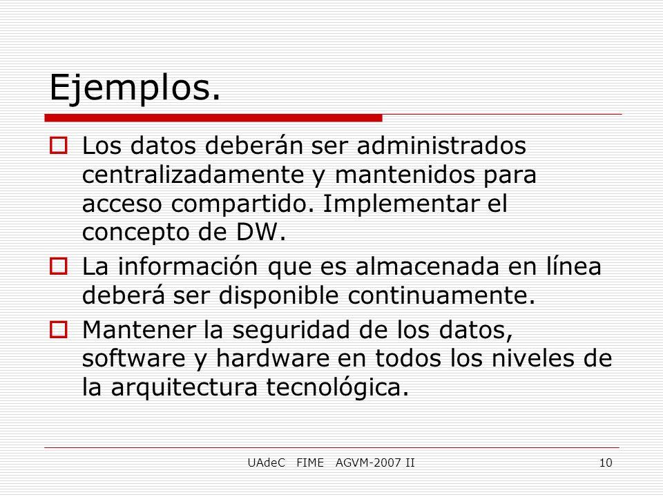 Ejemplos. Los datos deberán ser administrados centralizadamente y mantenidos para acceso compartido. Implementar el concepto de DW.