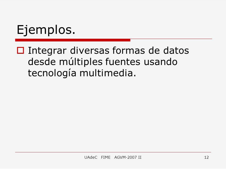 Ejemplos. Integrar diversas formas de datos desde múltiples fuentes usando tecnología multimedia.