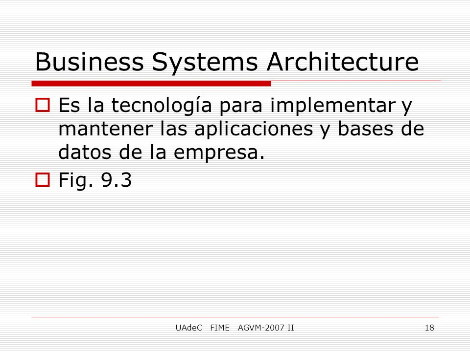Business Systems Architecture