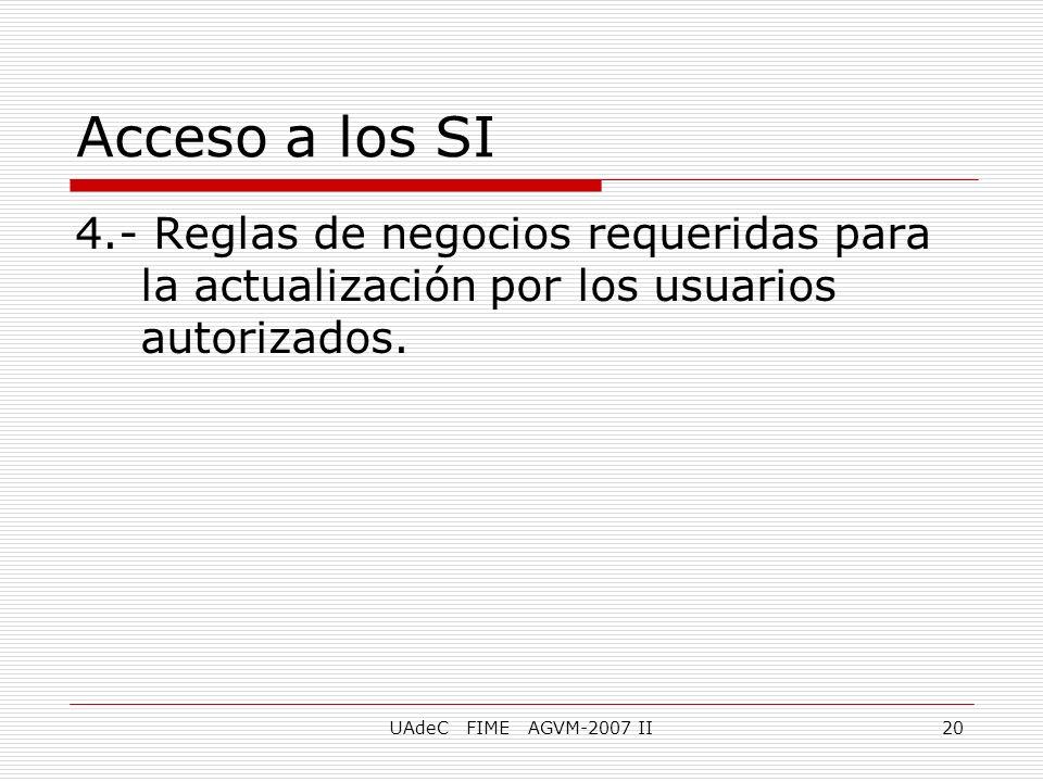 Acceso a los SI 4.- Reglas de negocios requeridas para la actualización por los usuarios autorizados.