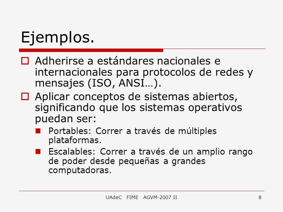 Ejemplos. Adherirse a estándares nacionales e internacionales para protocolos de redes y mensajes (ISO, ANSI…).