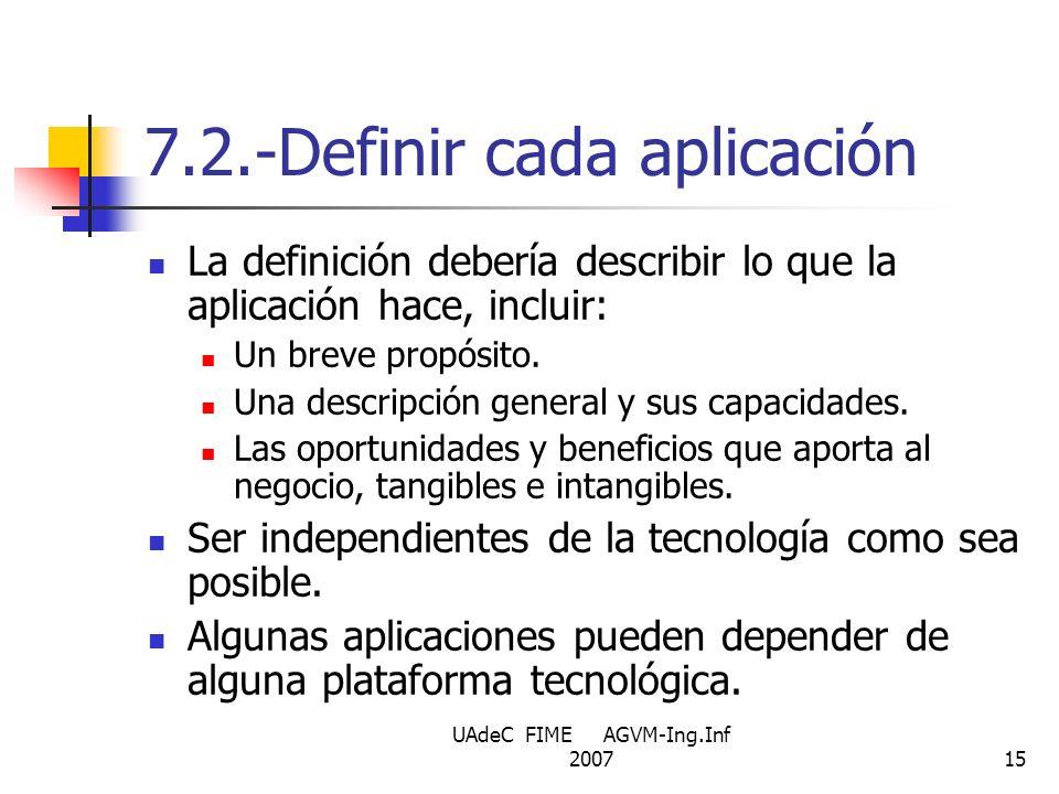 7.2.-Definir cada aplicación