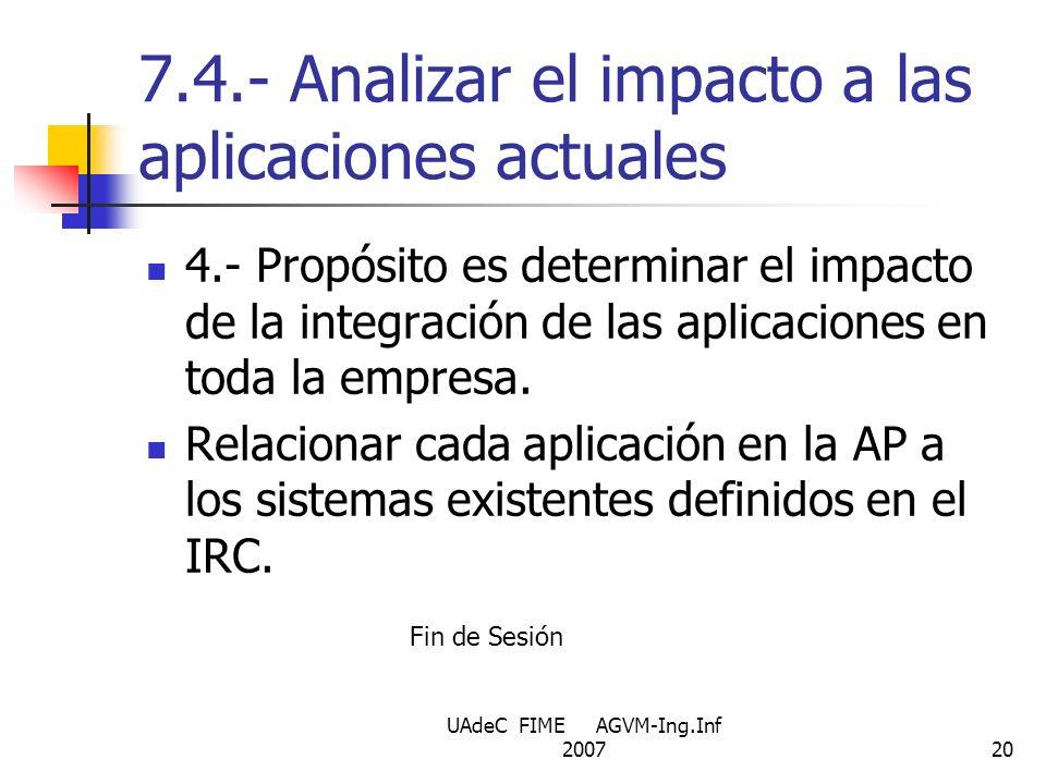 7.4.- Analizar el impacto a las aplicaciones actuales