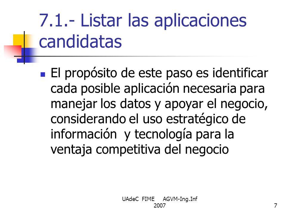 7.1.- Listar las aplicaciones candidatas