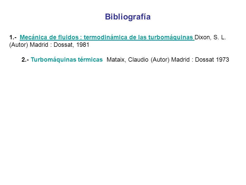 Bibliografía 1.- Mecánica de fluidos : termodinámica de las turbomáquinas Dixon, S. L. (Autor) Madrid : Dossat, 1981