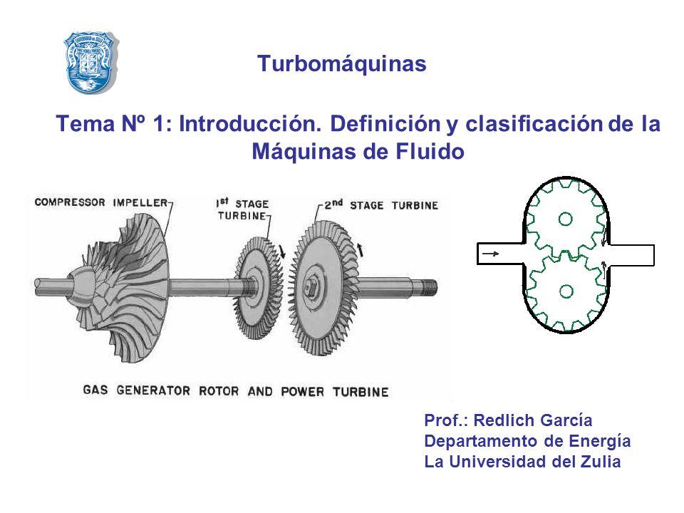 Turbomáquinas Tema Nº 1: Introducción. Definición y clasificación de la Máquinas de Fluido. Prof.: Redlich García.