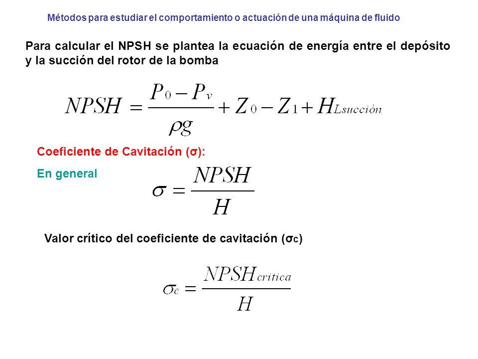 Coeficiente de Cavitación (σ): En general