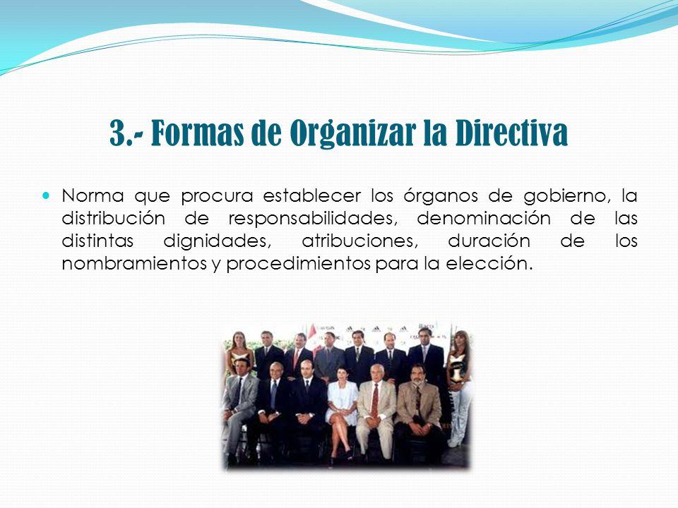 3.- Formas de Organizar la Directiva