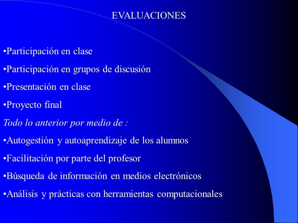EVALUACIONES Participación en clase. Participación en grupos de discusión. Presentación en clase.