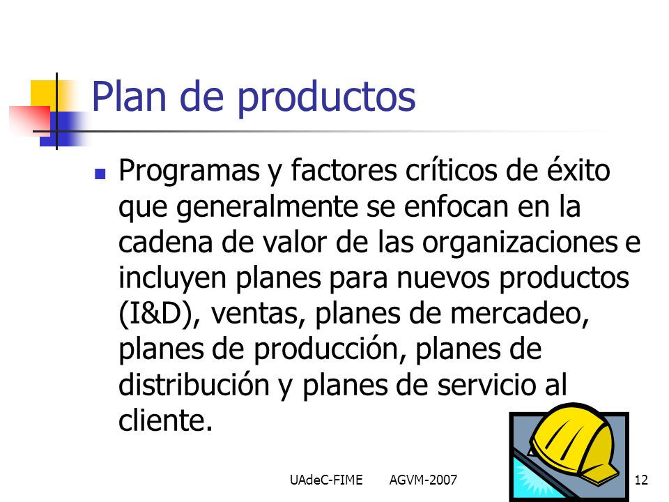 Plan de productos