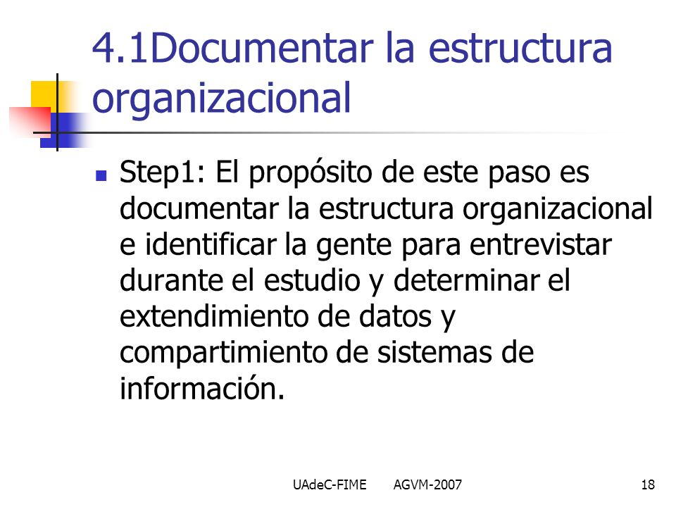 4.1Documentar la estructura organizacional