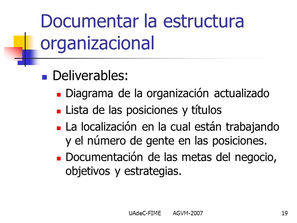 Documentar la estructura organizacional