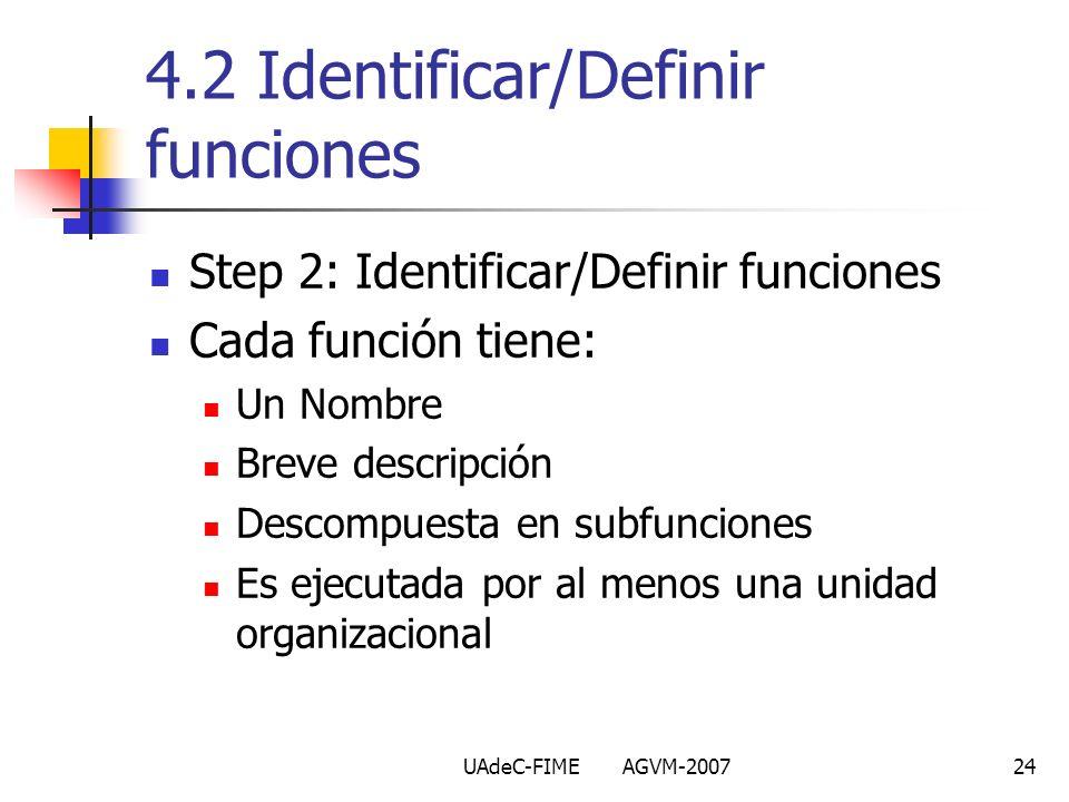 4.2 Identificar/Definir funciones