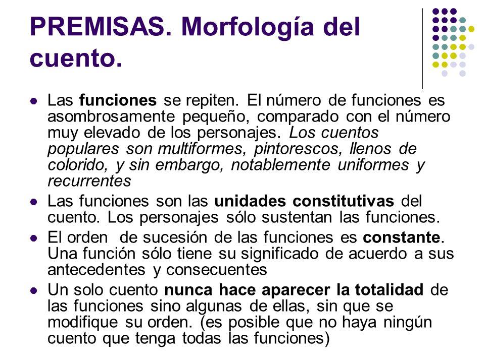 PREMISAS. Morfología del cuento.