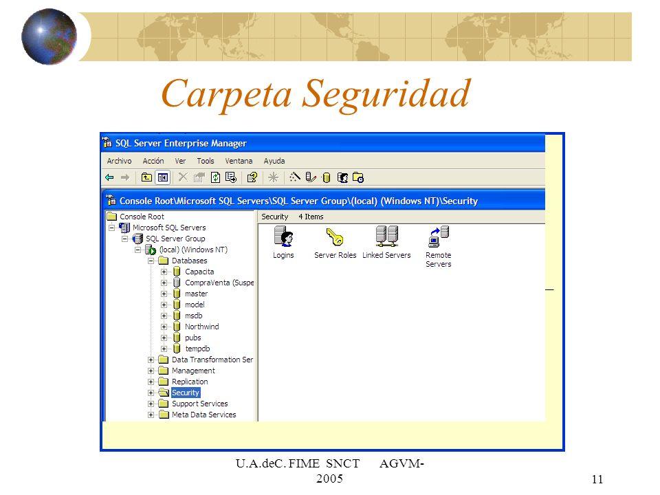 Carpeta Seguridad U.A.deC. FIME SNCT AGVM-2005