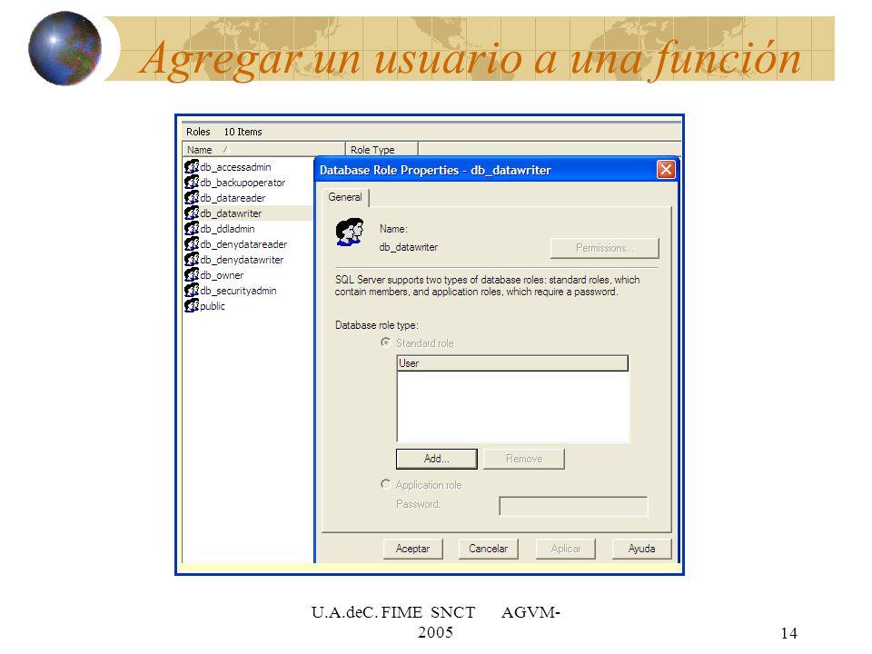 Agregar un usuario a una función