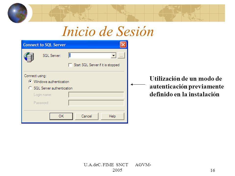 Inicio de Sesión Utilización de un modo de autenticación previamente definido en la instalación.