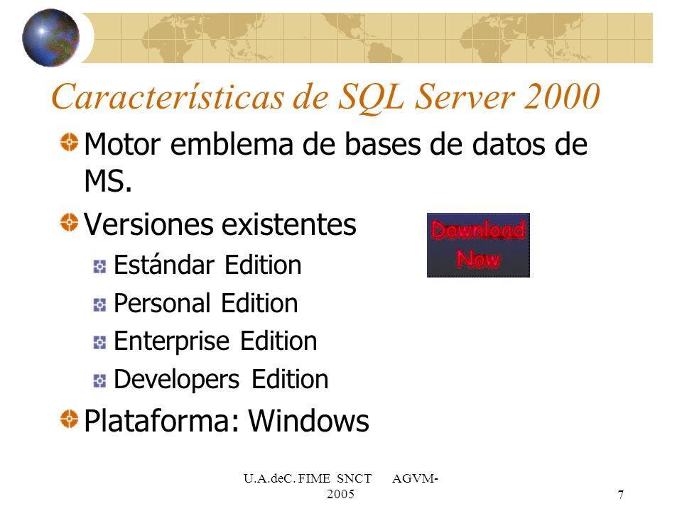 Características de SQL Server 2000
