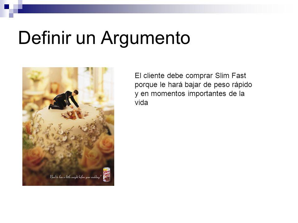 Definir un Argumento El cliente debe comprar Slim Fast porque le hará bajar de peso rápido y en momentos importantes de la vida.