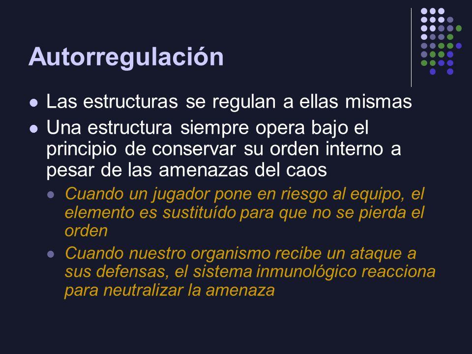 Autorregulación Las estructuras se regulan a ellas mismas