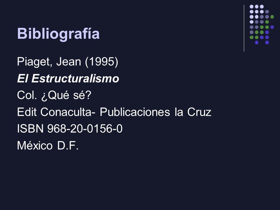 Bibliografía Piaget, Jean (1995) El Estructuralismo Col. ¿Qué sé