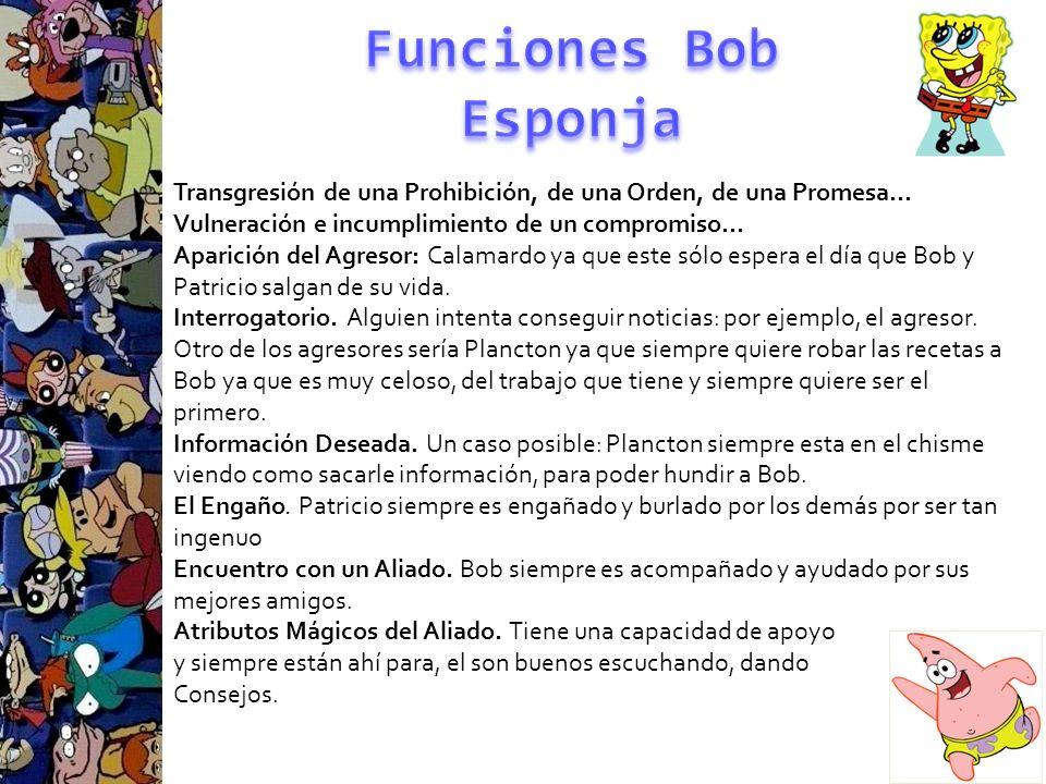 Funciones Bob Esponja Transgresión de una Prohibición, de una Orden, de una Promesa… Vulneración e incumplimiento de un compromiso…