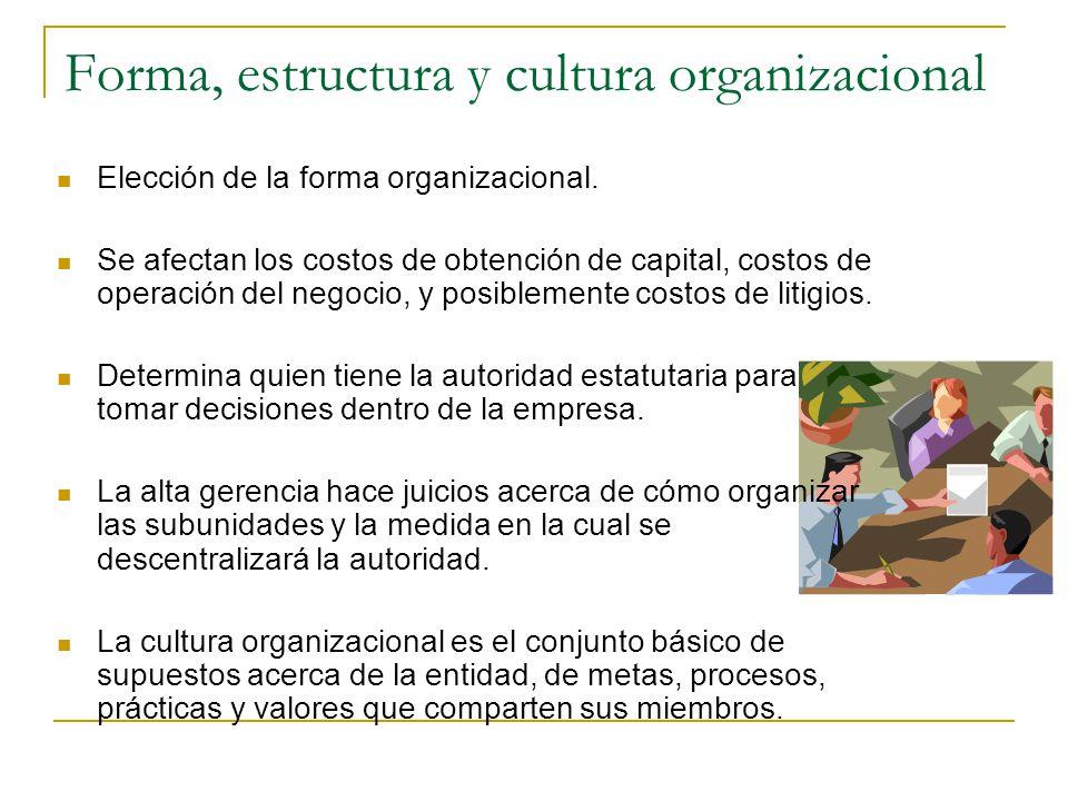 Forma, estructura y cultura organizacional