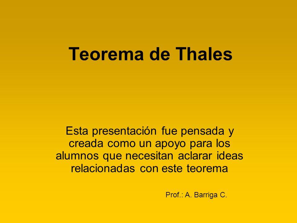 Teorema de Thales Esta presentación fue pensada y creada como un apoyo para los alumnos que necesitan aclarar ideas relacionadas con este teorema.