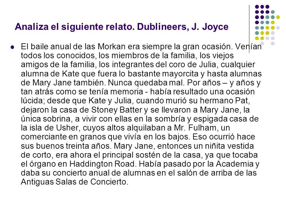 Analiza el siguiente relato. Dublineers, J. Joyce
