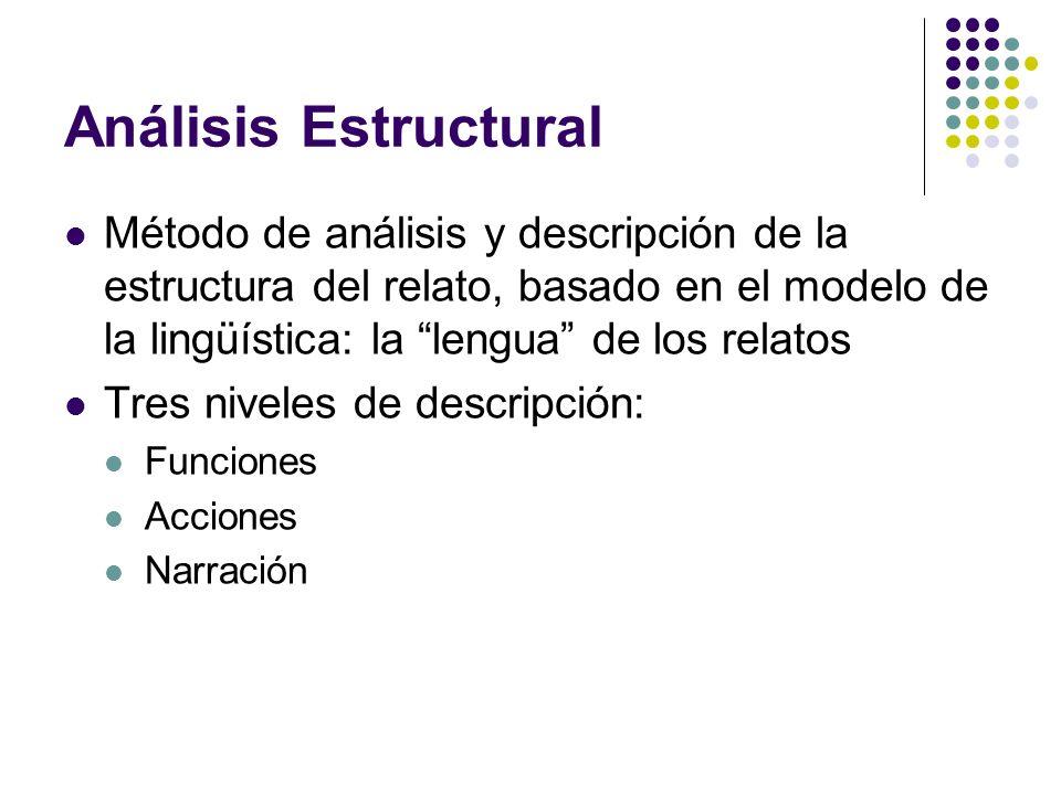 Análisis Estructural Método de análisis y descripción de la estructura del relato, basado en el modelo de la lingüística: la lengua de los relatos.