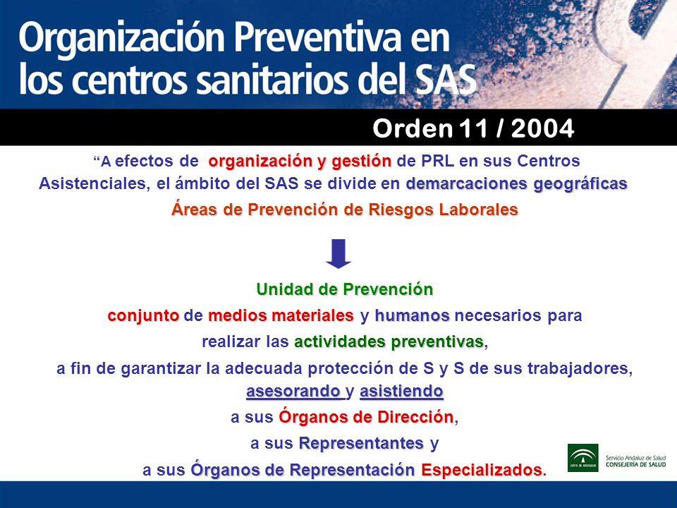 Orden 11 / 2004 A efectos de organización y gestión de PRL en sus Centros Asistenciales, el ámbito del SAS se divide en demarcaciones geográficas.