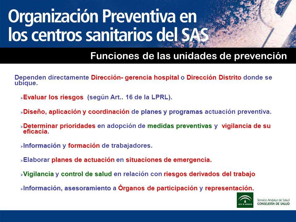 Funciones de las unidades de prevención